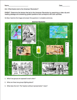 American Revolution Causes Worksheet: Exciting Visual Replication CCLS