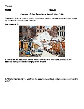 American Revolution Causes DBQ Packet