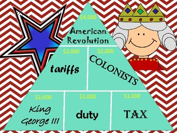 American Revolution (Causes, People, Battles, & Terms) Pyramid Review Game