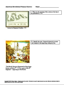 American Revolution Causes Primary Sources