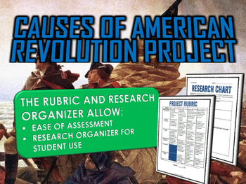 American Revolution Causes - Project with Rubric and Teacher Guide