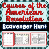 American Revolution Causes Scavenger Hunt -Task Cards - Revolutionary War Causes