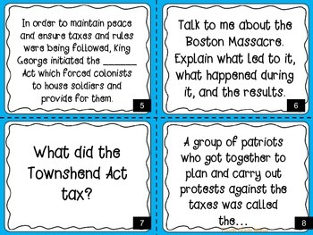 American Revolution-Causes and Battles-Task Cards