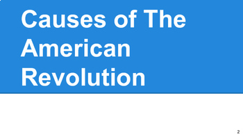 American Revolution - Causes of the War