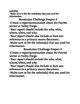 American Revolution Challenge Projects