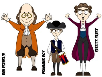 American Revolution Characters Clip Art Set