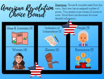 American Revolution Choice Board