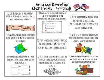 American Revolution Choice Board Activities