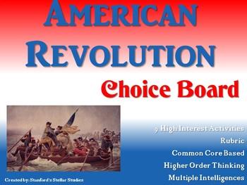 American Revolution Choice Board Activities Menu Social Studies Project Rubric