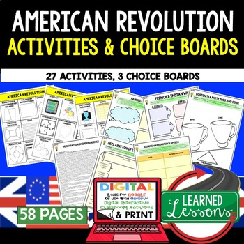 American Revolution Choice Board Activities (Paper and Google)