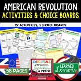 American Revolution Activities, Choice Board, Print & Digital, Google