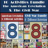 American Revolution & Civil War Bundle of 16 Activities - 25% Off!