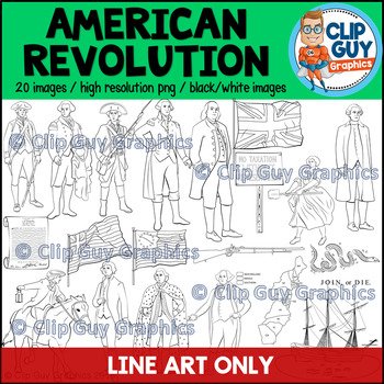 American Revolution Clip Art Bundle - LINE ART IMAGES ONLY {Clip Guy Graphics}