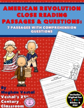 American Revolution Close Reading Passages {Digital & PDF Included}