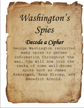 American Revolution Coded Cipher Activity