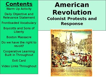 American Revolution - Colonist Protests and Response