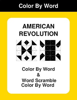 American Revolution - Color By Word & Color By Word Scramble Worksheets