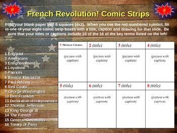 American Revolution Comic Strip Activity: fun, engaging, informative 20slide PPT