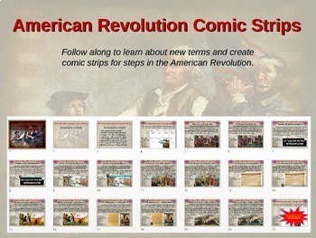 American Revolution Comic Strip Activity: visually engaging PPT with hyperlinks