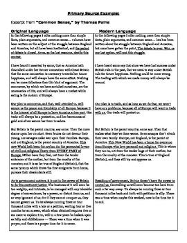 American Revolution - Common Sense - Thomas Paine - Analyzing Primary Sources
