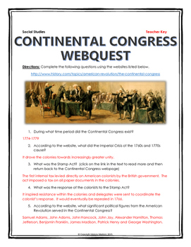 American Revolution - Continental Congress - Webquest with Key