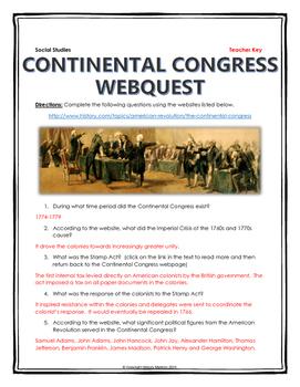 American Revolution - Continental Congress - Webquest with Key
