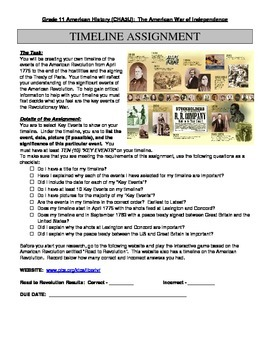 American Revolution:  Creating a Timeline Assignment