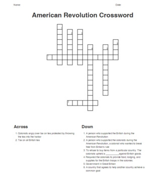 American Revolution Crossword
