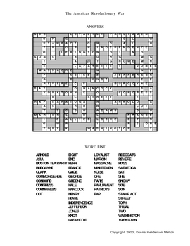 American Revolution Crossword Puzzle by Donna Melton | TpT
