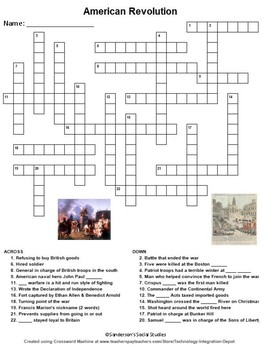 American Revolution Crossword Puzzle Worksheet