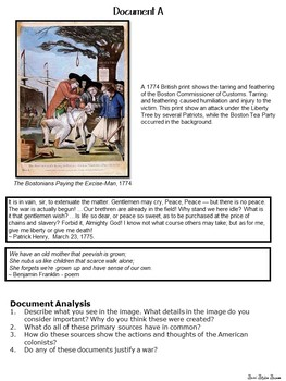 American Revolution DBQ - Reading and Writing using Primary Sources - Bundle