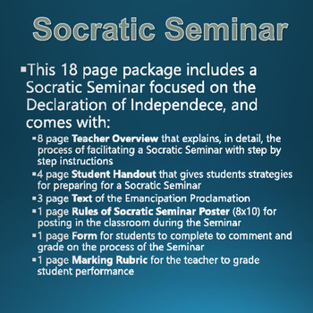American Revolution - Declaration of Independence - Socratic Seminar with Rubric