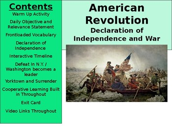 American Revolution - Declaration of Independence and the War