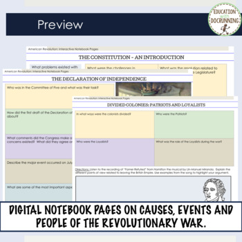 American Revolution Digital Interactive Notebook 4 Google Drive