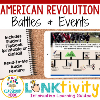 American Revolution Digital Learning Guide + Flipbook (Major Battles & Events)