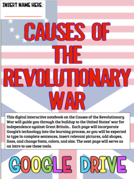 American Revolution DIGITAL Notebook! Google Drive Ready for Revolutionary War!