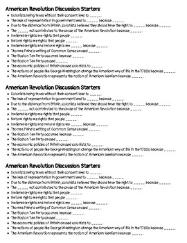 American Revolution Discussion Starters: Sentence Stems & Key Words - Eng & Span