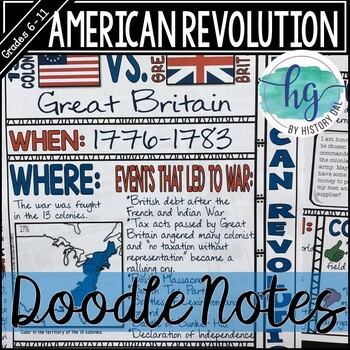American Revolution Doodle Notes By History Gal TpT