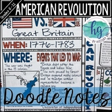 American Revolution Doodle Notes and Digital Guided Notes