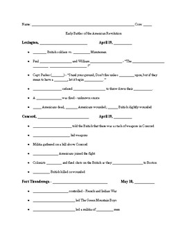 American Revolution - Early Battles of the War Cloze Notes