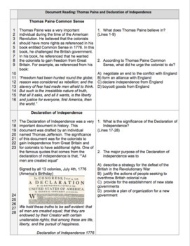 American Revolution: Effects Activity Worksheet Common Core Aligned