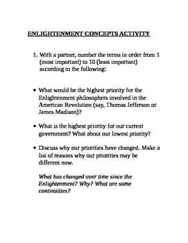American Revolution Enlightenment Concepts Think-Pair-Share Activity