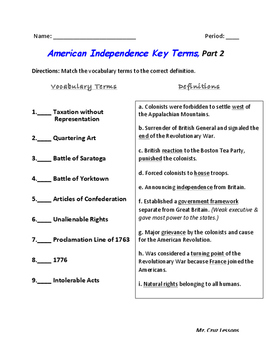 American Revolution Era, Vocabulary Quiz #2