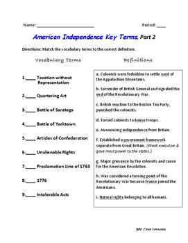 American Revolution Era, Vocabulary Quiz #2