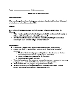 American Revolution Essay Assignment