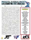 American Revolution Events Puzzle Page (Wordsearch and Cri