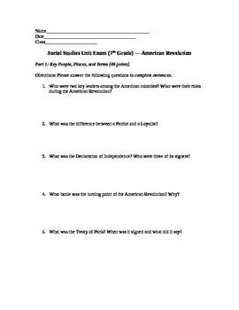 American Revolution Exam