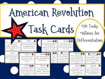 American Revolution Task Cards; No-Prep; Revolutionary War