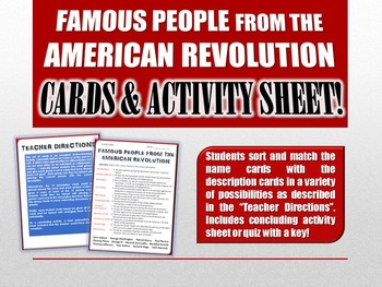American Revolution - Famous People of the American Revolution - Activity