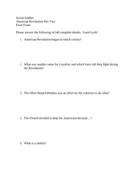 American Revolution Final Exam